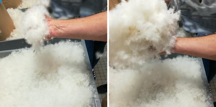 Démonstration du gonflement des flocons à la Manufacture Pyrenex dans les Landes © ABCfeminin.com.