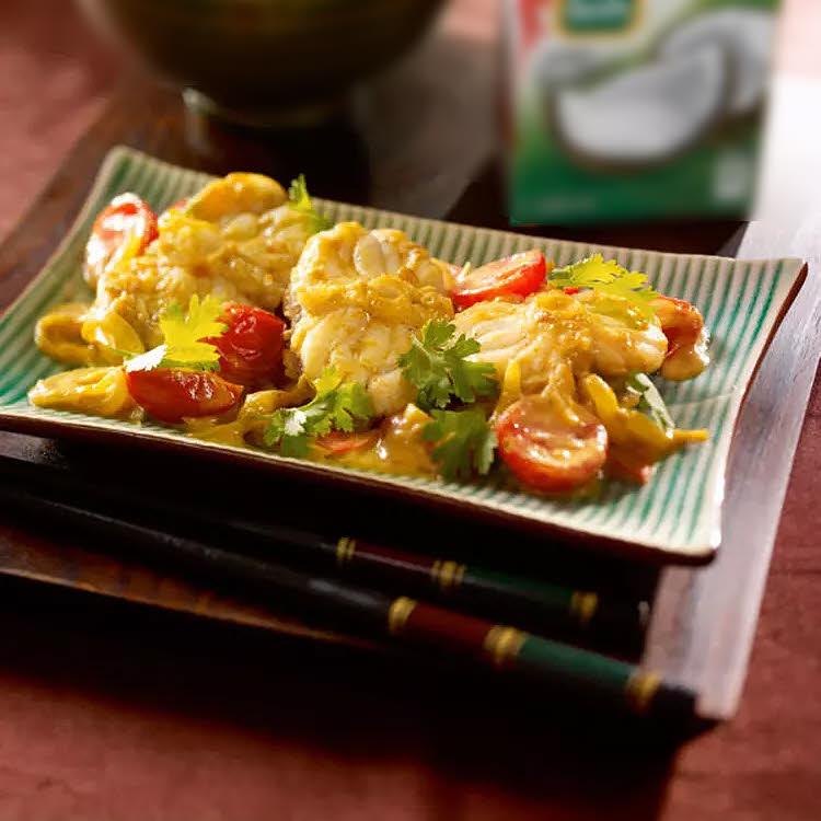 Spécial Chine : curry de lotte, tomates cerise et lait de coco.