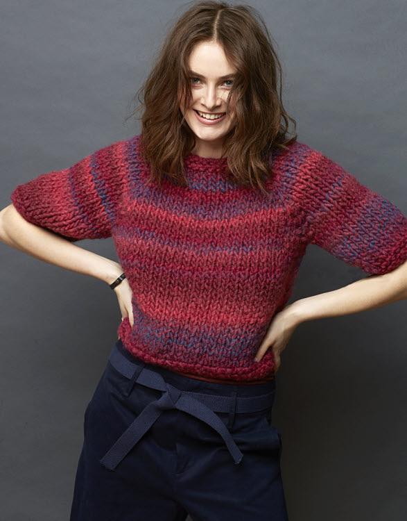 Pull à manches courtes à tricoter en maille XL - Modèle gratuit - Création Plassard.