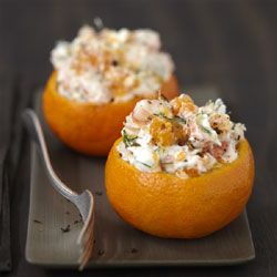 recette :  salade de crevettes, clémentines et Carré Frais