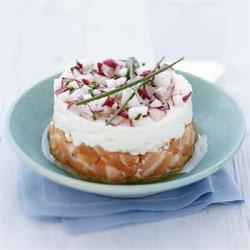recette : Tartare de saumon et radis croquants au Carré Frais