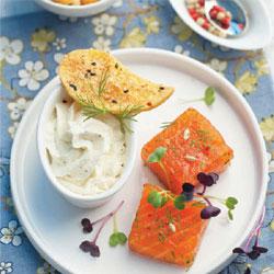Saumon Gravlax et fleur de pommes de terre