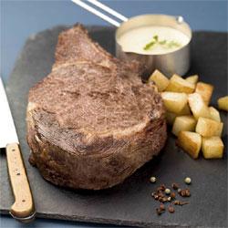 Côte de bœuf cuite à basse température, fondant de pommes de terre