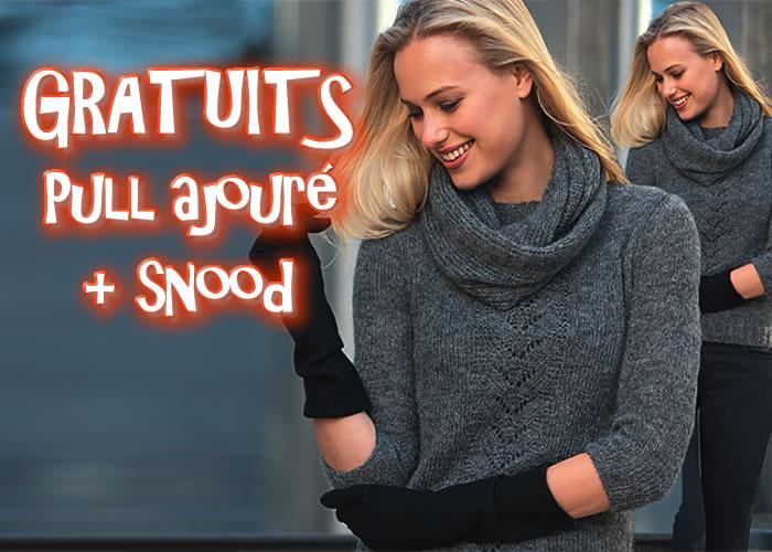 TRICOTS GRATUITS : pull en jersey ajouré et snood assorti