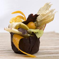 Coques de chocolat aux fruits de décembre, pommespommes, raisins et physalis