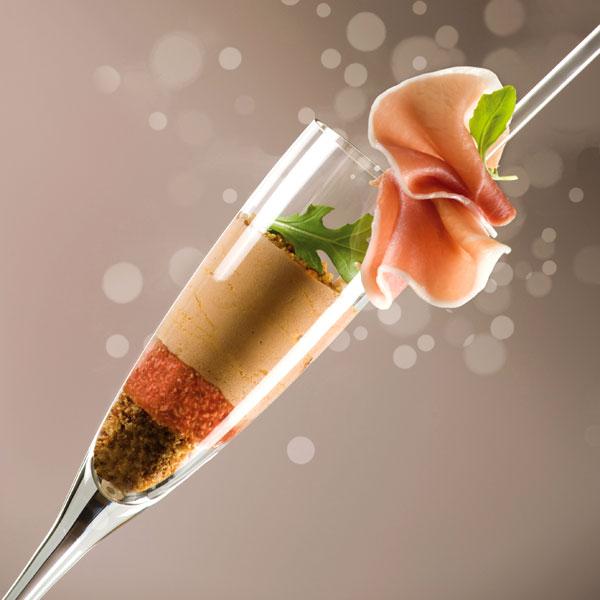 ZOOM Trifle de foie gras aux figues et jambon cru des Compagnons du Goût
