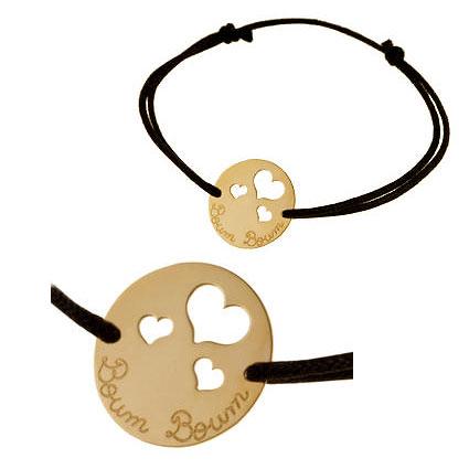 """Bracelet avec médaille """"Boum boum"""" en or jaune Le Manège à Bijoux E. Leclerc"""