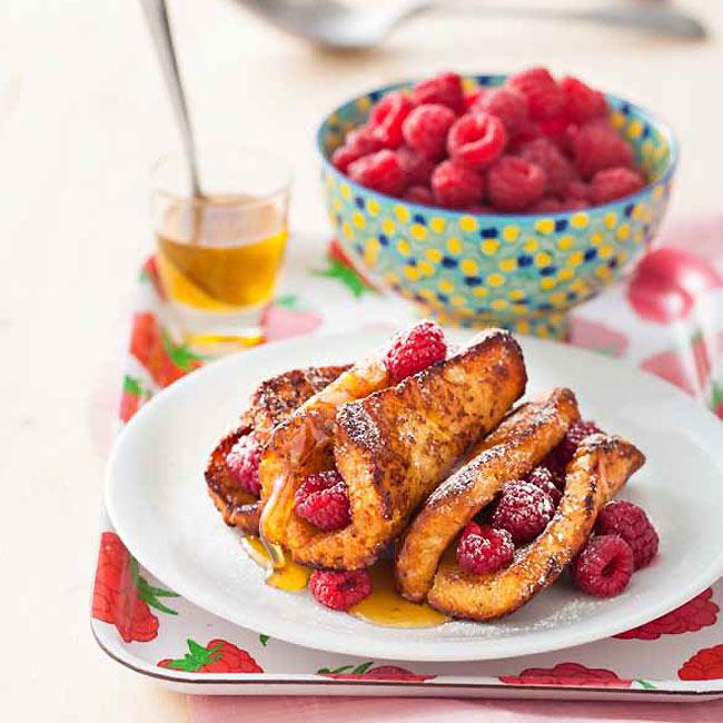 ZOOM recette sans gluten : Pains perdus miel/framboise