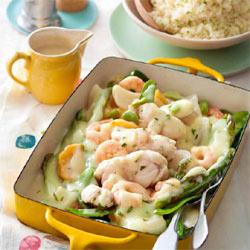 Blanquette de poisson et crevettes sans gluten