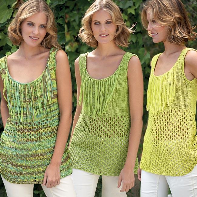 Modèle gratuit : tunique débardeur au point jersey à tricoter