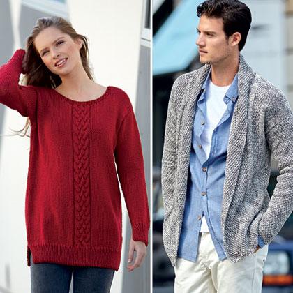 Modèles expliqués gratuits : Pull rubis pour elle et veste col châle pour lui à tricoter