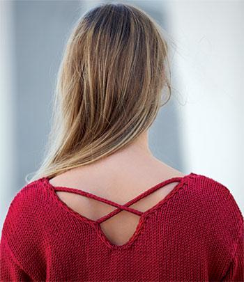 Zoom dos pull féminin