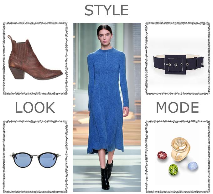 4 variations autour d'un look BOSS Women : boots MEXICANA, ceinture HÔTEL PARTICULIER, lunettes MASUNAGA, bague POIRAY