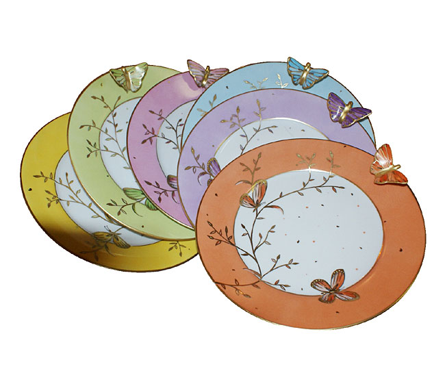 Assiettes à dessert Papillons Infinis Laure Selignac