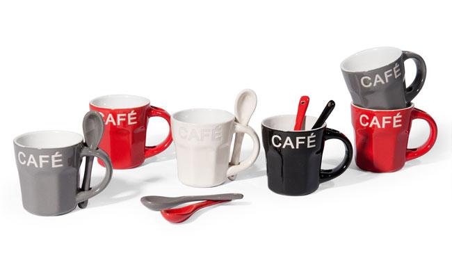 Coffret 6 tasses et cuillères 'Loft' Maisons du Monde