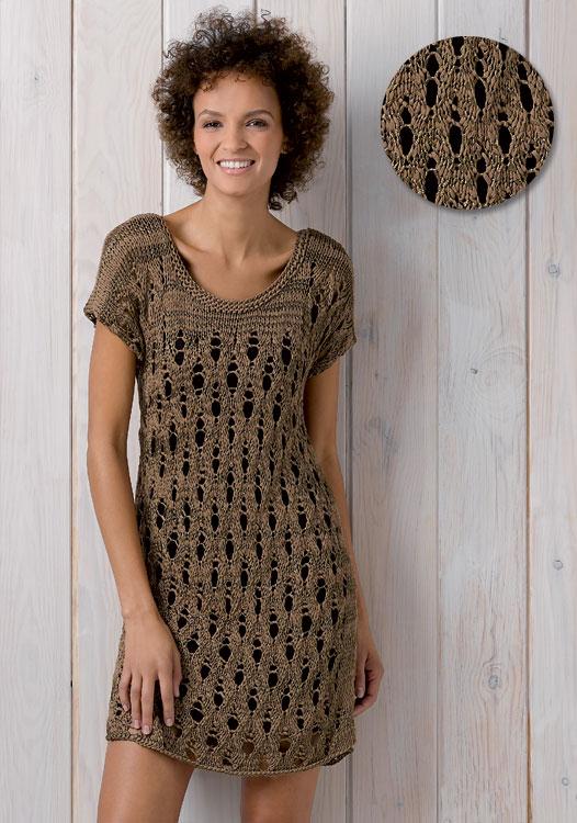 Modèle gratuit : robe à effet manches courtes à tricoter - Explications à télécharger.