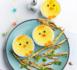 Entrée spéciale Pâques : poussins crèmes aux oeufs, légumes et parmesan