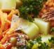 Salade bowl pommes de terre primeur, chou kale, lentilles corail et carottes