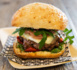 Recette all'italiana - Burger ciabatta, steak haché, mozzarella, tomates confites et roquette