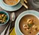 Menu de fête : soupe de rouget aux crevettes et encornets