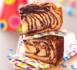 gâteau zébré vanille chocolat à la pâte à crêpes
