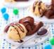 mini-crêpes au chocolat noir et glace au chocolat blanc