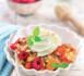 Recette : Crumble framboises, tomates et crème basilic citron