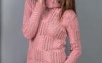 Modèle gratuit : pull ajouré à col roulé à tricoter - explications à télécharger