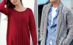 Modèles gratuits : pull à torsades pour elle et veste gilet à col châle pour homme - explications à télécharger
