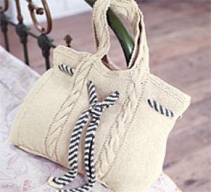 sac marin à torsades à tricoter, explications gratuites