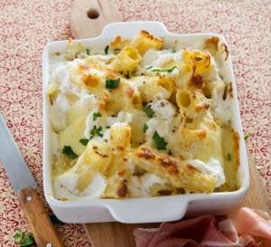 Recette all'italiana - Rigatoni al formaggio e parma (gratin de pâtes aux 4 fromages)