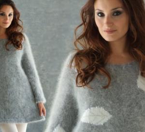 Modèle expliqué gratuit : robe tunique unie ou à motifs au point jersey à tricoter en laine Angora © Anny Blatt.