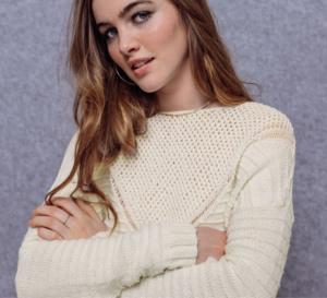 Pull en pure laine mérinos à plastron ajouré, à tricoter - Explications gratuites