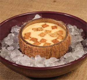 recette de Christian Bidard : Soupe de carotte glacée à la crème de coco, petits croutons à l'huile d'ail