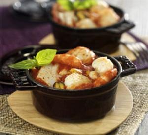 recette : Cocotte de poissons au concentré Intenso oignons frits