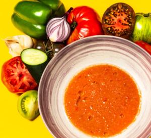 Recette rapide de chef : gaspacho de tomates, concombre et poivrons