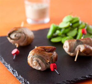 saltimbocca de veau sauce gourmande, fèves à l'huile d'olive  et basilic