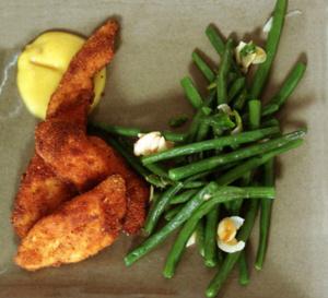 Bistronomie : croustillants de poulet sauce curry et haricots frais