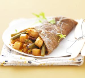Galettes de blé noir et poêlée basquaise au poulet grillé