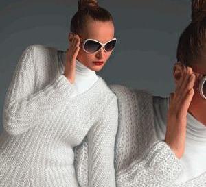 Pull-tunique blanc en côtes fantaisie - explications gratuites