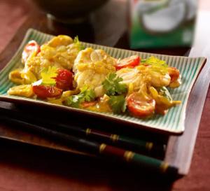 Spécial Chine : curry de lotte, tomates cerise et lait de coco