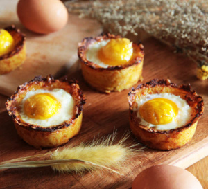 Recette de Pâques : nids de pommes de terre à l'oeuf fermier bio