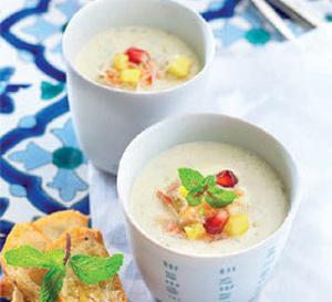 Recette : Cappuccino de crabe, ananas et menthe