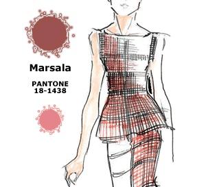 couleur Pantone MARSALA interprétée par les créateurs