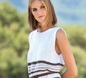 robe-tunique sans manches au point de riz - explications gratuites
