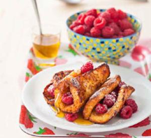 recette sucrée sans gluten : pains perdus miel/framboise