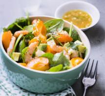Salade de crevettes aux abricots et au piment d'Espelette