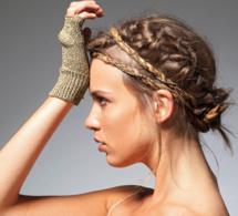 Bandeau et mitaines en fil doré à tricoter - explications gratuites