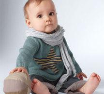 pull layette pour bébé en jersey jacquard à motif étoilé - Explications gratuites