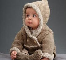 ensemble layette : paletot et chaussons pour bébé en jersey et point mousse - explications gratuites